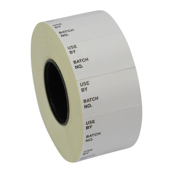 Printed CT7 'Use By / Batch No.' 26 x 16mm Price Gun Labels