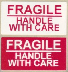 Fragile Handle With Care Labels - 50x25mm - 500 Labels