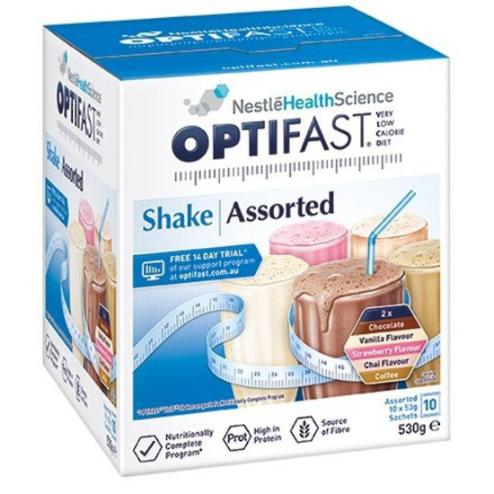 OPTIFAST MILKSHAKE - ASSORTED FLAVOURS 10 x 53g Sachets