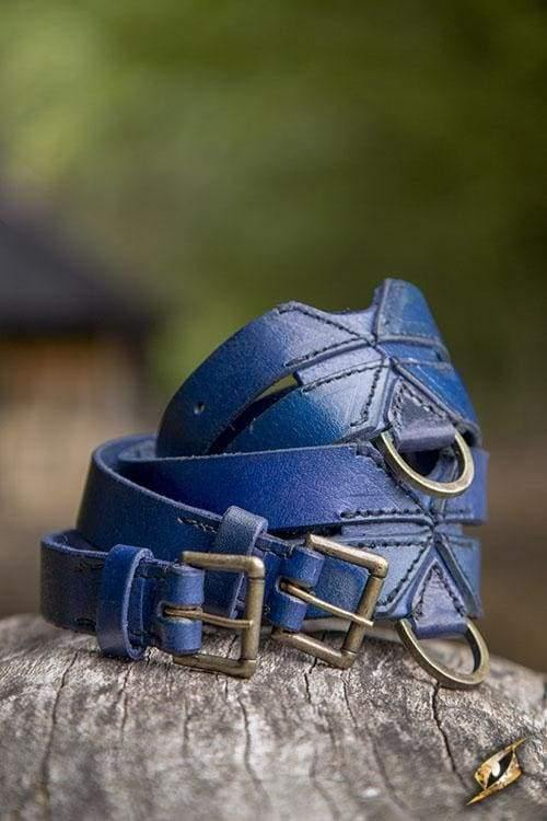 Twin Leather Belt, Blue