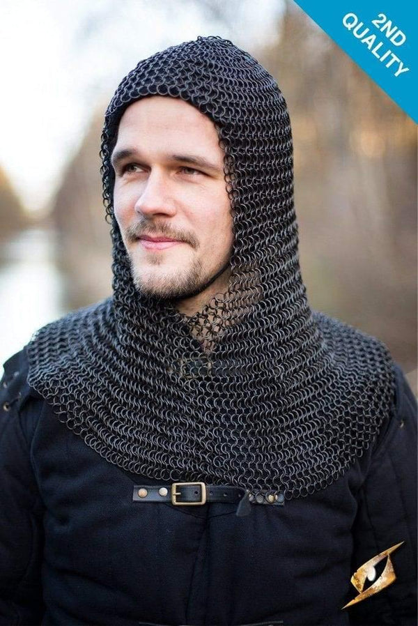 Alaric Chainmail Coif Dark Steel (2Nd Quality) Larp Armor