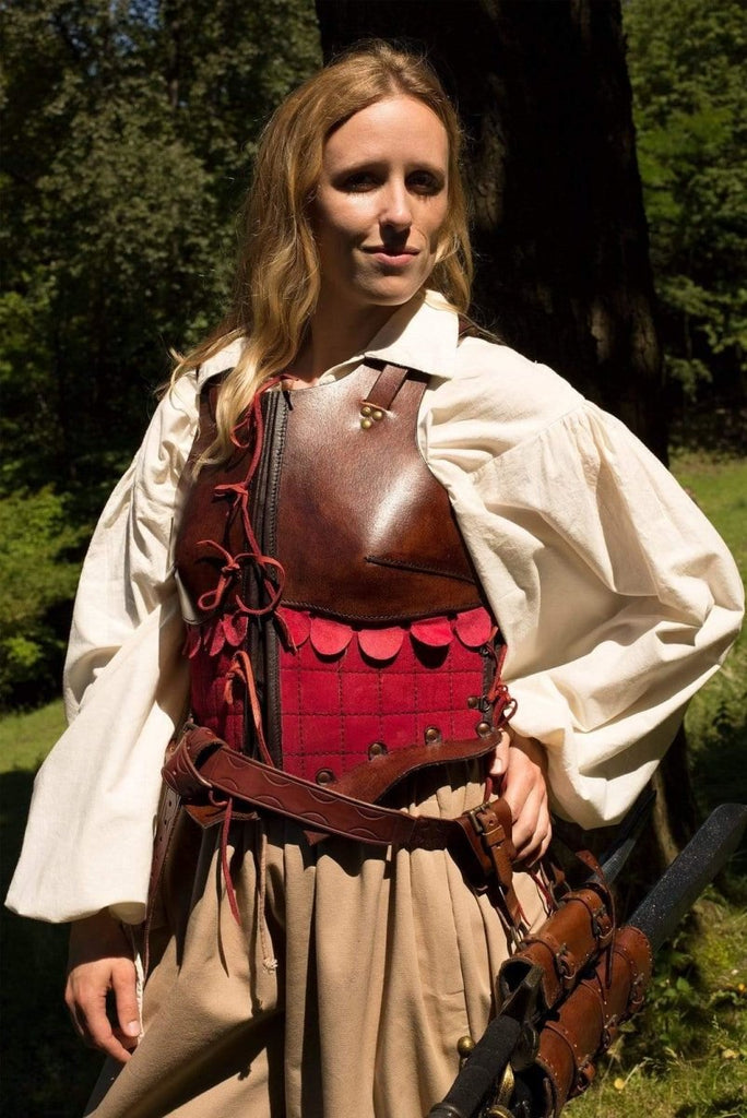 Female Leather Armor, Brown And Red - Epic Armoury Unlimited