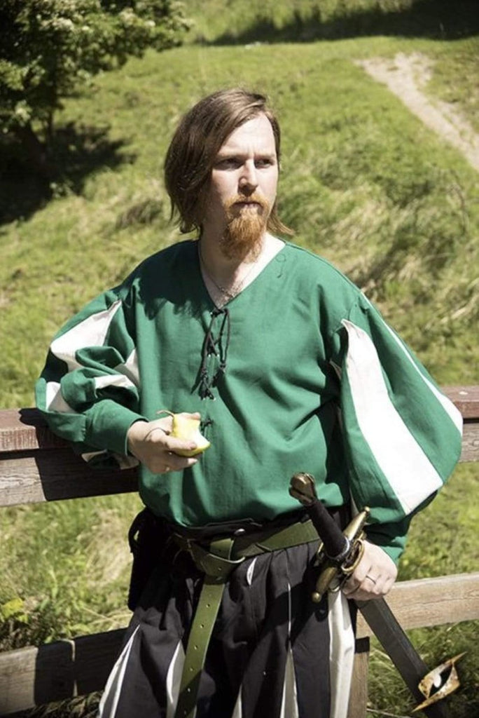 Landsknecht Shirt, Green and White - Epic Armoury Unlimited