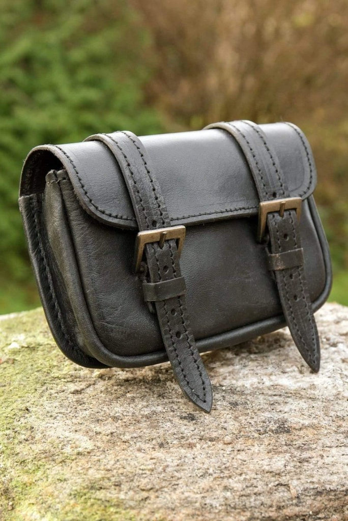 Large Leather Warrior Bag, Black - Epic Armoury Unlimited