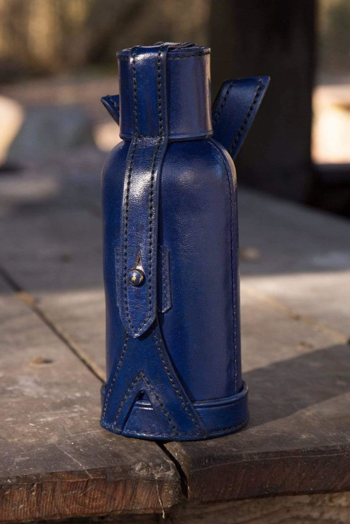Leather Bottle Holder, Blue - Epic Armoury Unlimited