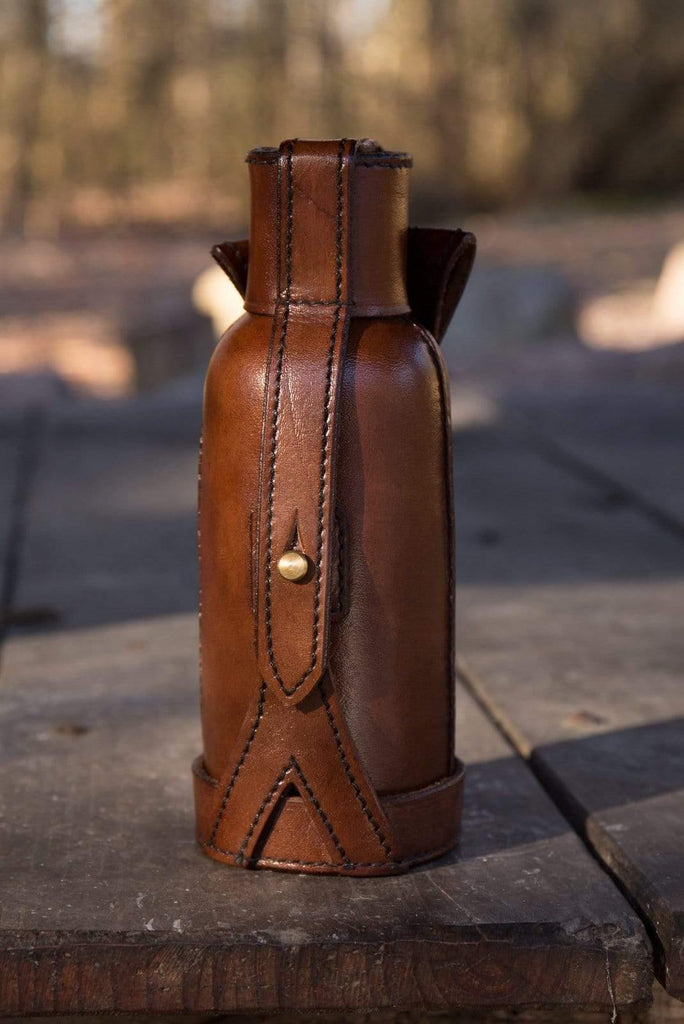Leather Bottle Holder, Brown - Epic Armoury Unlimited