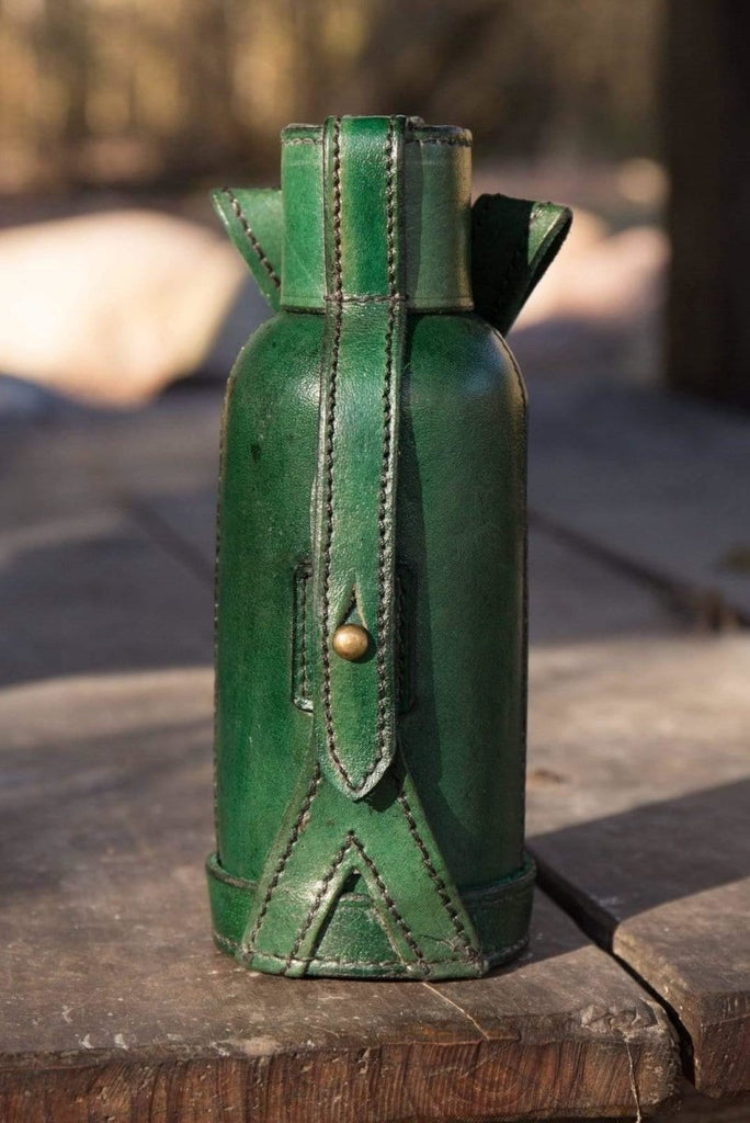 Leather Bottle Holder, Green - Epic Armoury Unlimited