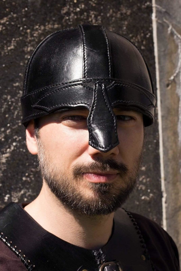 Leather Warrior Helmet, Black - Epic Armoury Unlimited