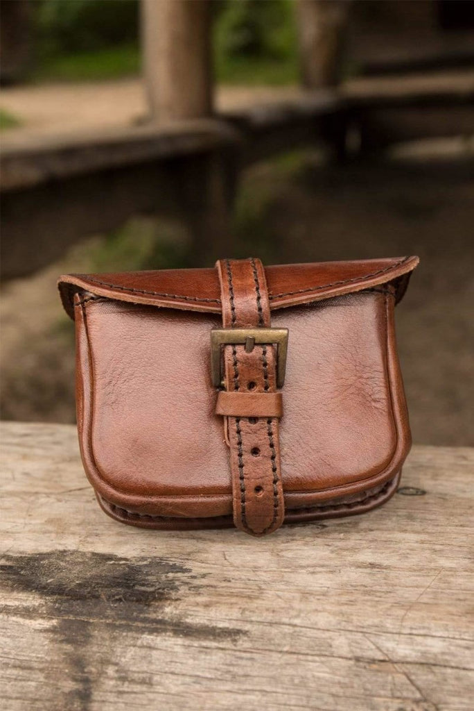 Small Leather Warrior Bag, Brown