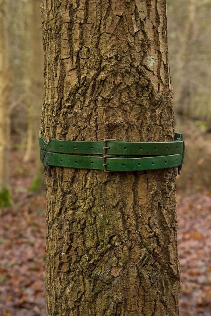 Twin Leather Belt, Green