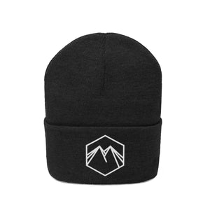 White Embroidered Logo Knit Beanie