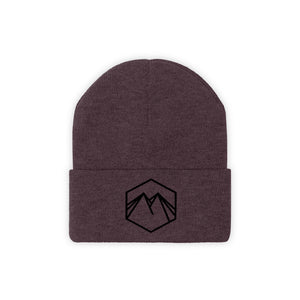 Black Embroidered Logo Knit Beanie