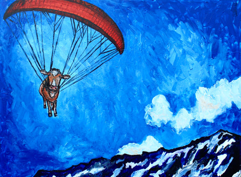 Paragliding Cow