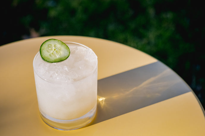 Cucumber + Ginger + Rose Shrub Mezcal Cocktail
