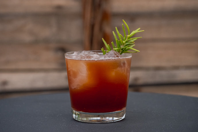 Plum + Date + Rosemary Shrub Cocktail