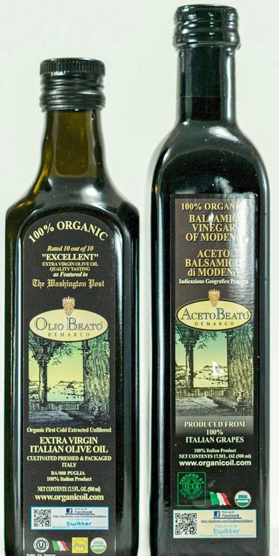 Our New Sample Pack. A 17.5 FL OZ Bottle Of Our World Renown Olio Beato DeMarco Organic Extra Virgin Olive Oil & a 17.5 FL OZ Bottle Of Our Famous Organic Balsamic Vinegar