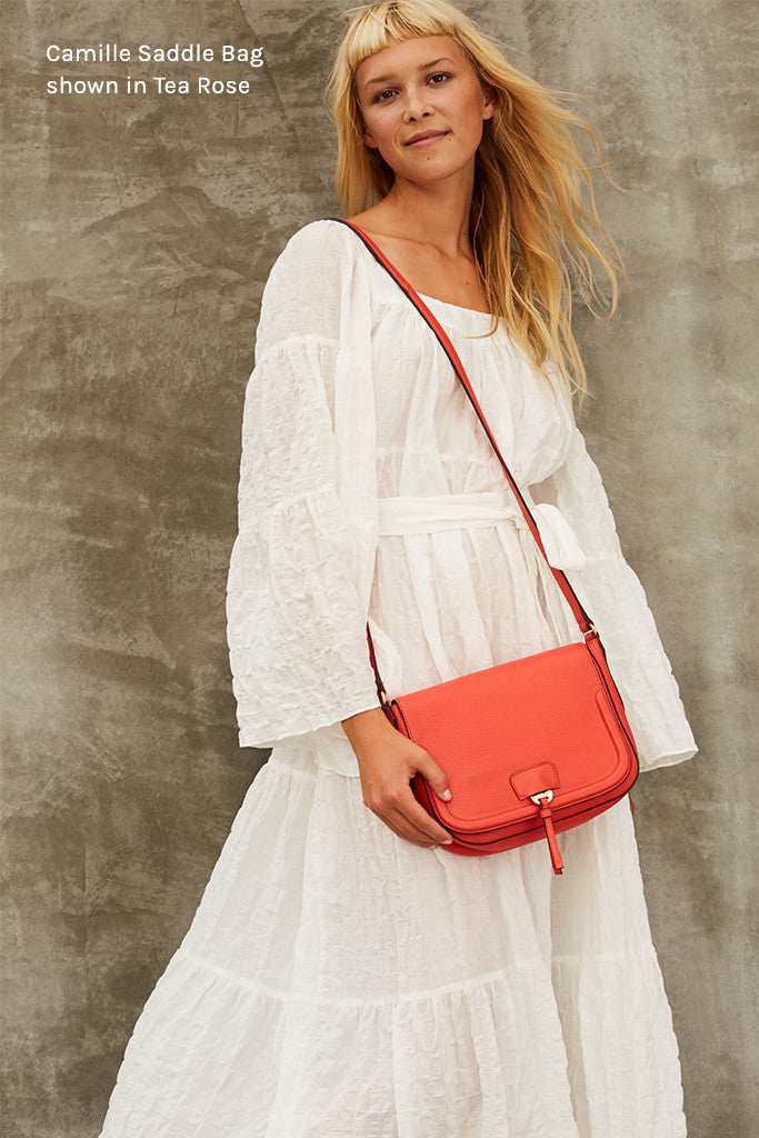 Camille Saddle Bag in Tea Rose