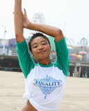 "SLT ~ ""EQUALITY"" White & Green Unisex Baseball Tee"