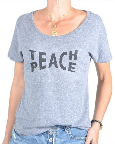 "SLT ~ ""TEACH PEACE"" Grey Short Sleeve Tee"