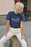 NAL ~ DON'T HARSH MY BUZZ - NAVY WASHED TEE