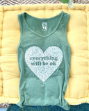 "SLT ~ ""EVERYTHING WILL BE OK"" Clover Unisex Cotton Tank"