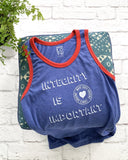 "SLT ~ ""INTEGRITY IS IMPORTANT"" Blue & Red Ringer Unisex Tank"
