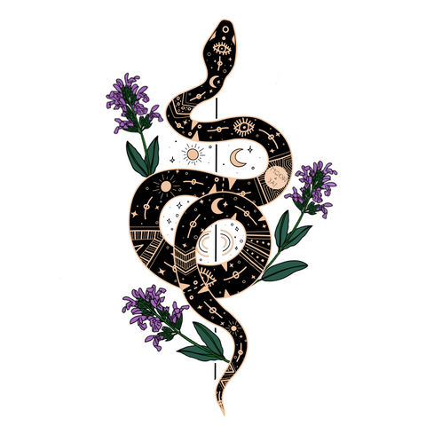 Black boho snake outlined and covered in golden astronomical shapes with 3 purple salvia divinorum flower plants sticking out.