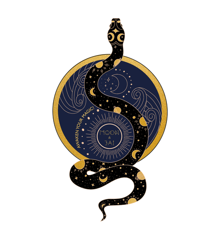 "Navy blue circle with black serpent extending through the circumference, both outlined and covered in golden celestial accents. Sticker says ""Awaken your Magic"" and ""Moon and Jai"""