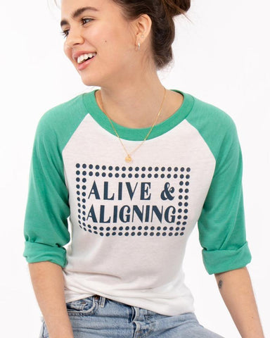 "SLT ~ ""ALIVE AND ALIGNING"" White & Green Unisex Baseball Tee"