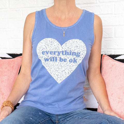 "SLT ~ ""EVERYTHING WILL BE OK"" Periwinkle Unisex Cotton Tank"