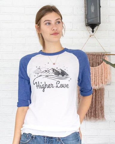 "SLT ~ ""HIGHER LOVE"" White & Blue Unisex Baseball Tee"