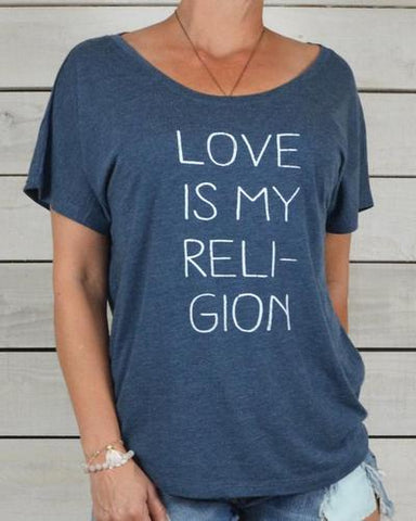 "SLT ~ ""LOVE IS MY RELIGION"" Indigo Short Sleeve Tee"