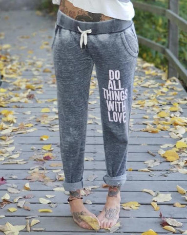 "SLT ~ ""DO ALL THINGS WITH LOVE"" Coal Colored Fleece Jogger Pants"