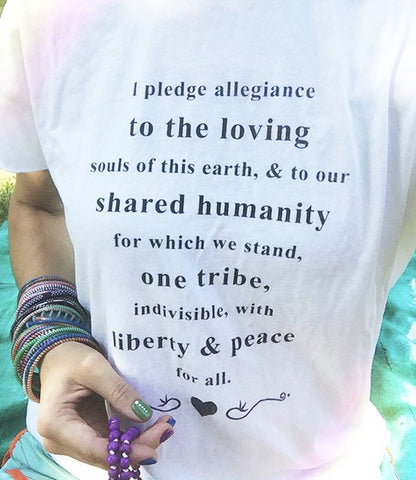 "SLT ~ ""I PLEDGE ALLEGIANCE TO THE LOVING..."" White 100% Cotton Perfect Tee"