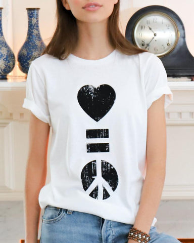 "SLT ~ ""LOVE IS PEACE"" Burnout White Unisex Tee"