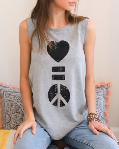 "SLT ~ ""LOVE IS PEACE"" Grey Girly Muscle Tee"