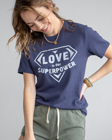 "SLT ~ ""LOVE IS OUR SUPER POWER"" Navy Bue Soft Unisex Tee"