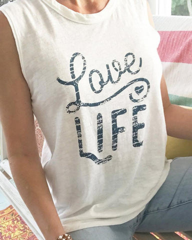 "SLT ~ ""LOVE LIFE"" 100% Cotton White Muscle Tee"
