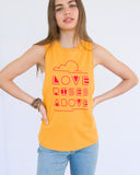 "SLT ~ ""LOVE RISES ABOVE"" Golden Cotton Muscle Tee"