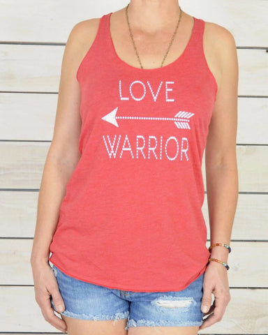 "SLT ~ ""LOVE WARRIOR"" Red Racer Back Tank"