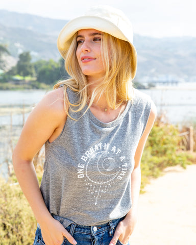 "SLT ~ ""ONE BREATH AT A TIME"" Heather Grey Muscle Tee"