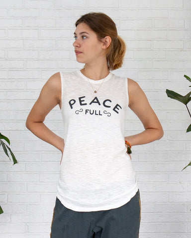 "SLT ~ ""PEACE FULL"" 100% Cotton White Muscle Tee"