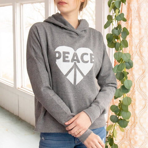 "SLT ~ ""PEACE HEART"" Heather Grey Pullover Hoodie"