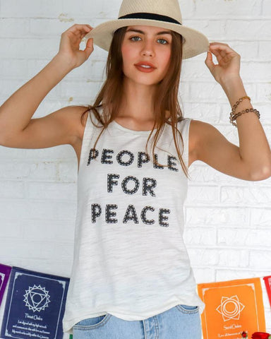 "SLT ~ ""PEOPLE FOR PEACE"" Ivory Muscle Tee"