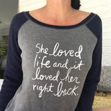 "SLT ~ ""SHE LOVED LIFE..."" Grey & Navy Wide Neck Fleece Sweatshirt"