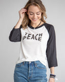 "SLT ~ ""TEACH PEACE"" White & Black Unisex Baseball Tee"