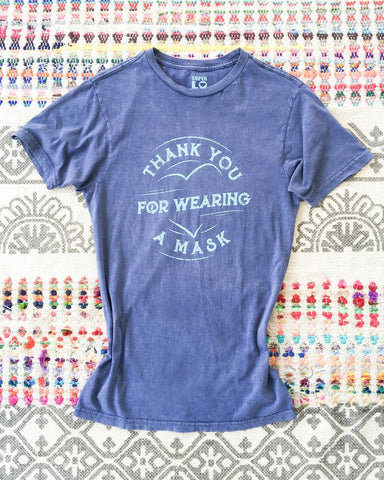 "SLT ~ ""THANK YOU FOR WEARING A MASK"" Cotton Unisex Mineral Wash Tee"