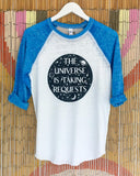 "SLT ~ ""THE UNIVERSE IS TAKING REQUESTS"" Burnout Baseball Tee"