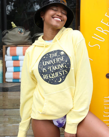 "SLT ~ ""THE UNIVERSE IS TAKING REQUESTS"" Yellow Pullover Hoodie"