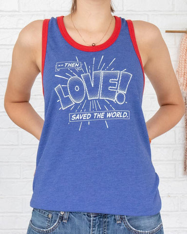 "SLT ~ ""THEN LOVE SAVED THE WORLD"" Blue & Red Ringer Unisex Tank"